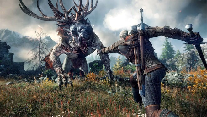 "Fight fearsome beasts and explore a vast open world in ""The Witcher 3: Wild Hunt."""