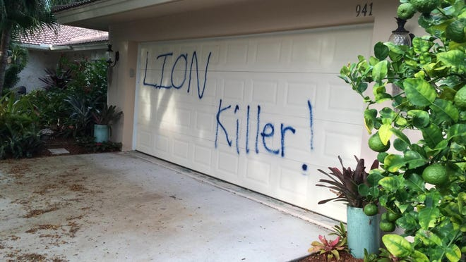 The Marco Island home of dentist and big-game hunter Walter James Palmer was spray painted.