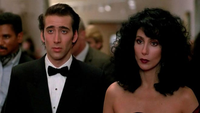 "Nicholas Cage and Cher star in ""Moonstruck."""
