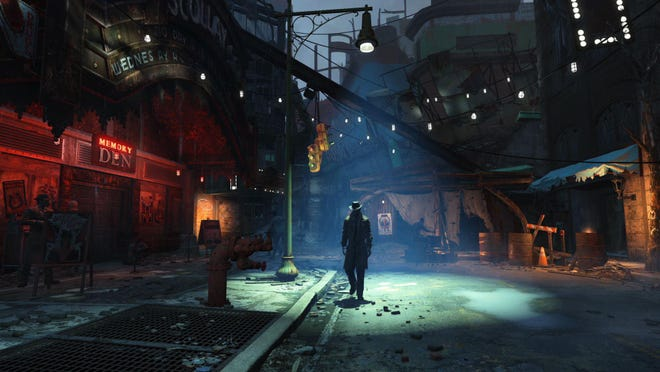 """In this photo provided by Bethesda Softworks, a survivor explores the streets of post-apocalyptic Boston in the video game, """"Fallout 4."""" (Bethesda Softworks via AP)"""