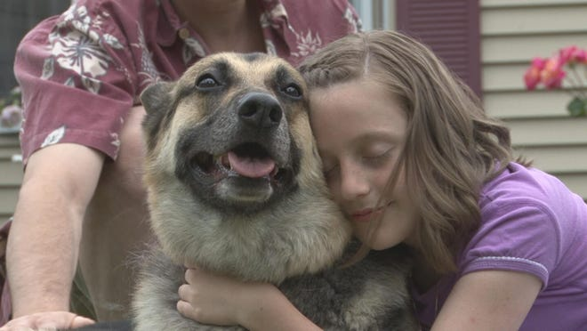 "Emma Lancaster-Huggins and K9 actor Rewind star in ""Footprints: Angels Are Real Some Even Have Fur."" The film is part of four faith-based, family films airing for free on Valentine's Day at Cinebarre Theater."