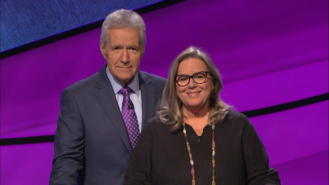 "Alex Trebek and Pam Platt on ""Jeopardy"" Friday"