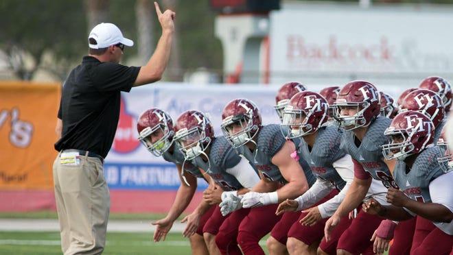 Florida Tech coach Steve Englehart runs drill in a previous year's spring practice.