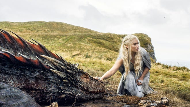 """Emilia Clarke appears as the Mother of Dragons in the bloody HBO hit """"Game of Thrones."""""""
