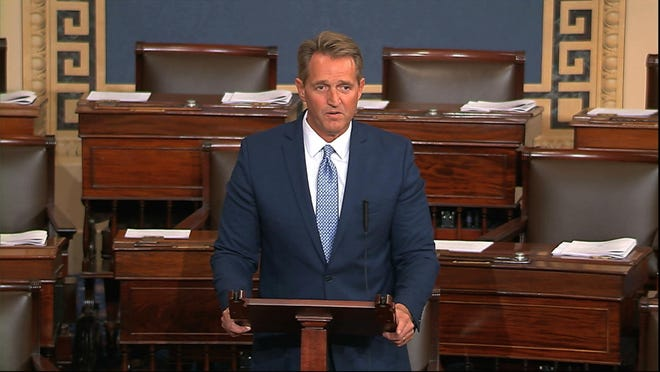In this image from video from Senate Television, Sen. Jeff Flake, R-Ariz., speaks on the Senate floor Tuesday, Oct. 24, 2017, at the Capitol in Washington. Flake announced he will not run for re-election in 2018.