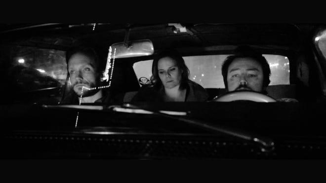"""Brad Stocker, Brie Roper and Michael McCallum and a scene from """"Deadbolt,"""" filmed in Lansing."""