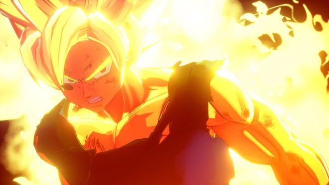 "Goku turns Super Saiyan during his fight with Frieza in ""Dragon Ball Z: Kakarot."""
