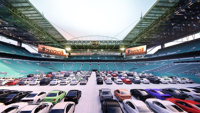 Artist's rendering of the drive-in theater at Hard Rock Stadium.