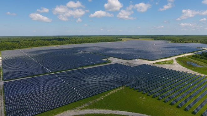 Thousands of solar panels are shown in this handout photo of Harmony Solar Energy Center in St. Cloud. On Tuesday, the Florida Municipal Power Agency announced that two solar power farms, including Harmony, went online and will start providing power to six Florida municipalities, including Ocala.