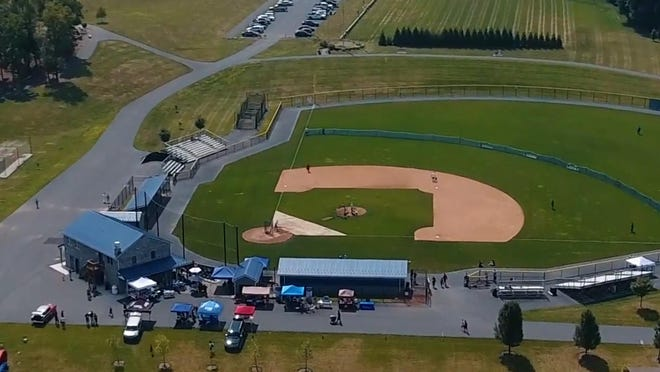 An overhead view of Greene Township Park captures the 2019 Home Run Derby to Fight Drug Addiction in full swing.