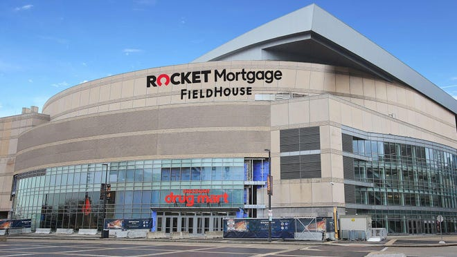 A rendering of Rocket Mortgage FieldHouse as viewed from its southeast corner.