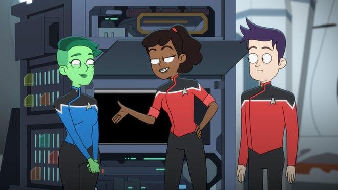 """Star Trek: Lower Decks"" features, from left, Nol Wells as Ensign Tendi, Tawny Newsome as Ensign Beckett Mariner and Jack Quaid as Ensign Brad Boimler."