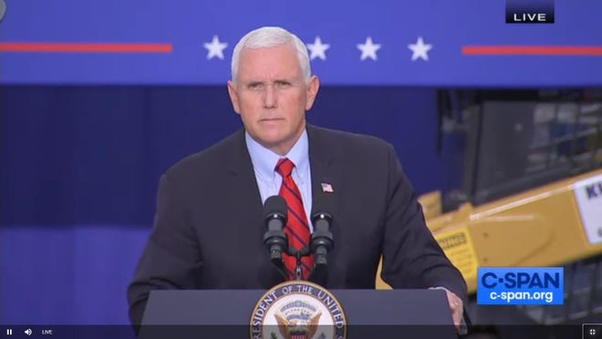 "Vice President Mike Pence spoke Tuesday, Sept. 1 at a ""Workers for Trump"" event in Luzerne County."