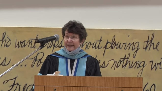 Three Rivers Community College President Mary Ellen Jukoski reflected on the uniqueness of the current moment during her graduation speech for the virtual commencement.