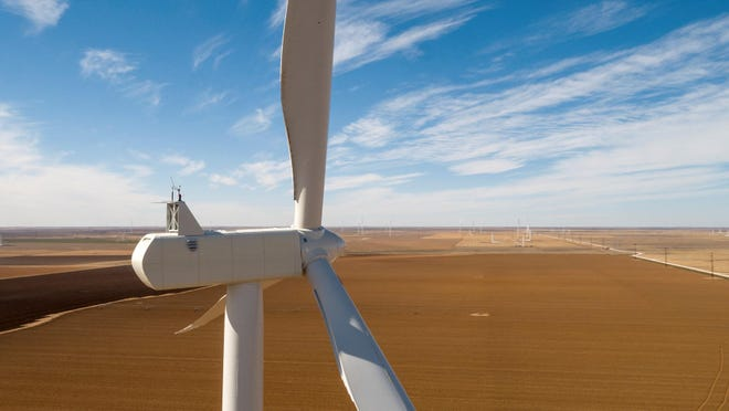 This aerial view was taken at Xcel Energy's Hale Wind Project near Plainview.