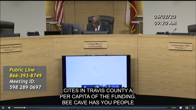 Bee Cave Mayor Kara King pleads to receive a portion of CARES Act funding during a Travis County Commissioners Court meeting June 2. King and the mayors of 15 other small cities in the county have requested access to the funds.