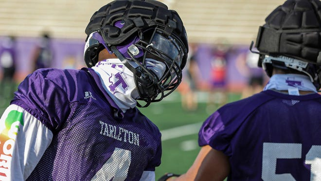 Tarleton State University honorable mention All-America linebacker Ronnell Wilson, a senior from Abilene, is pictured during practice. {TARLETON ATHLETICS]