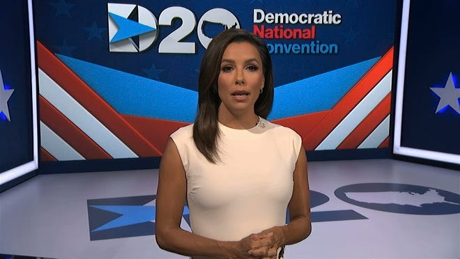 In this image from video, Eva Longoria, serving as moderator, speaks during the first night of the Democratic National Convention on Monday, Aug. 17, 2020.