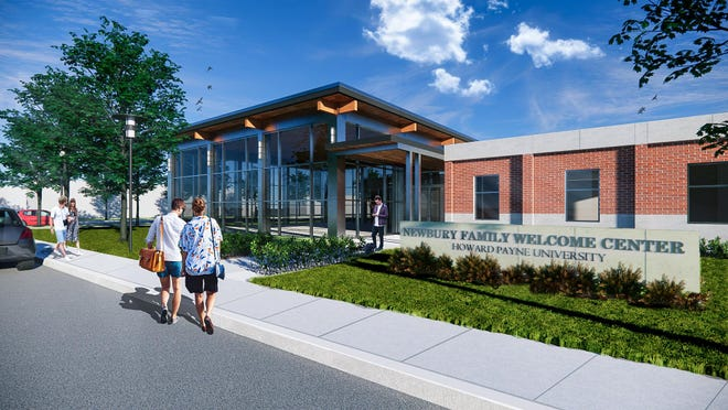An architect's rendering depicts the planned Newbury Family Welcome Center at Howard Payne University.