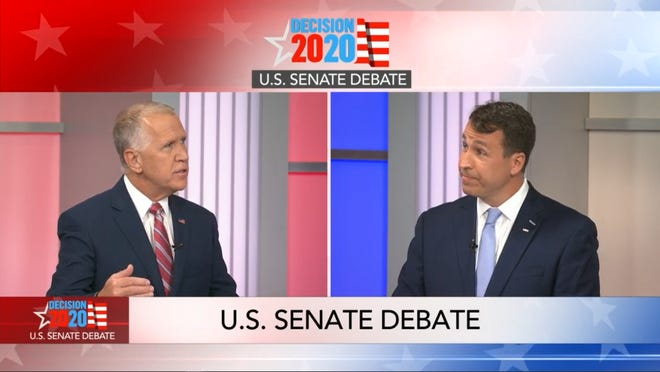 Incumbent Republican U.S. Sen. Thom Tillis, left, and Democratic challenger Cal Cunningham during a televised debate on Monday, Sept. 14, 2020.