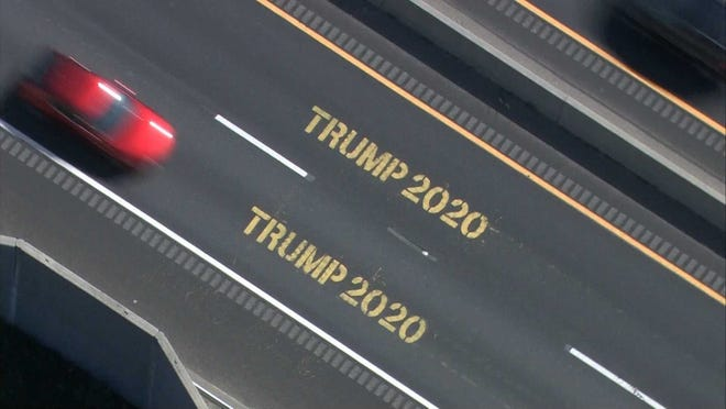 "The ""TRUMP 2020"" message was stenciled onto both lanes here along Route 44."