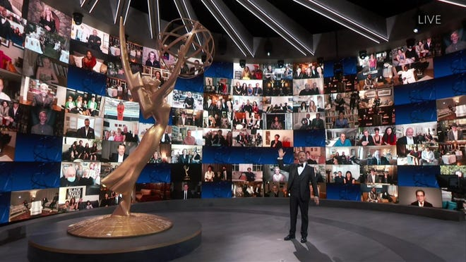 Host Jimmy Kimmel speaks on stage during the 72nd Emmy Awards telecast on Sunday, Sept. 20, 2020 at 8:00 PM EDT/5:00 PM PDT on ABC.