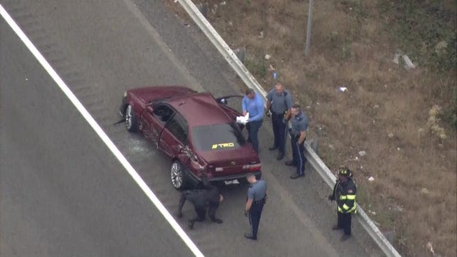 A police chase on Route 24 from Randolph to Avon ended in multi-vehicle crash and the arrest of Fall River man on the afternoon of Monday, Oct. 12, 2020.  WCVB photo