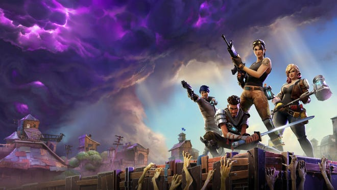 Fortnite poster with characters holding weapons