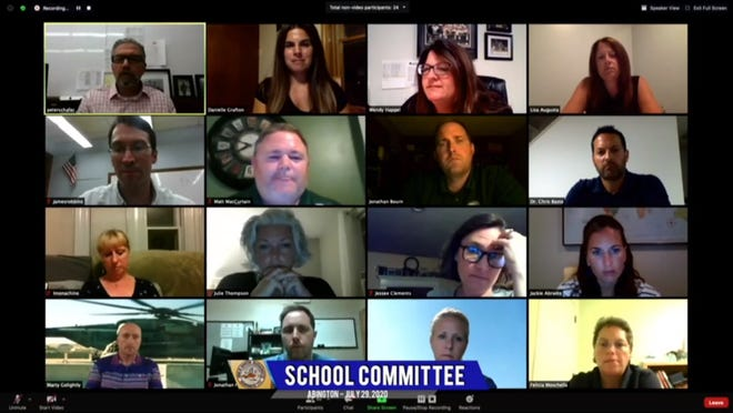 The Abington School Committee met remotely via Zoom to discuss fall school reopening plans, Wednesday, July 29, 2020.