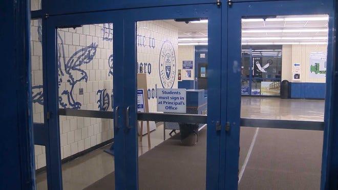 The Attleboro High School entrance.