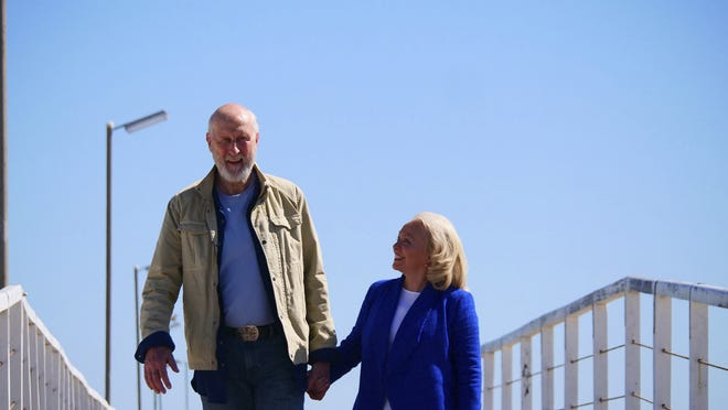 "James Cromwell and Jacki Weaver in a scene from ""Never Too Late."""