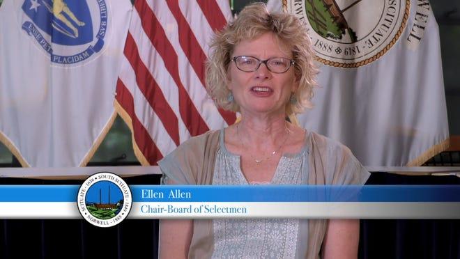 Norwell Board of Selectmen Chair Ellen Allen talks during a video explaining warrant articles that would allow for marijuana cultivation.