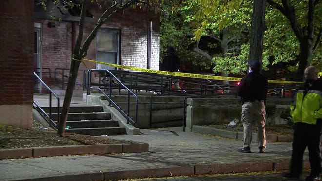 A 45-year-old man was killed on Parker Street in Boston's Jamaica Plain neighborhood in a shooting near a playground, community center and the Jackson Square MBTA station, Wednesday, Oct. 21, 2020. A Roxbury man was arrested in Brockton on a murder charge related to the shooting on Friday, Oct. 23.