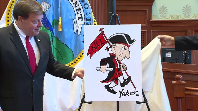 Quincy's mayor Thomas Koch, joined by Allan Yacubian, the Armenian-American dentist on which the original image was based, announced a new look for the mascot known as the Yakoo.