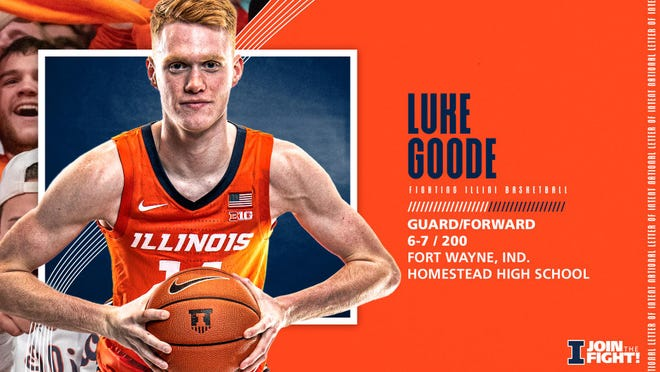 Promotional banner announcing Luke Goode signing a natinoal letter of intent to play for the Illinois men's basketball team.
