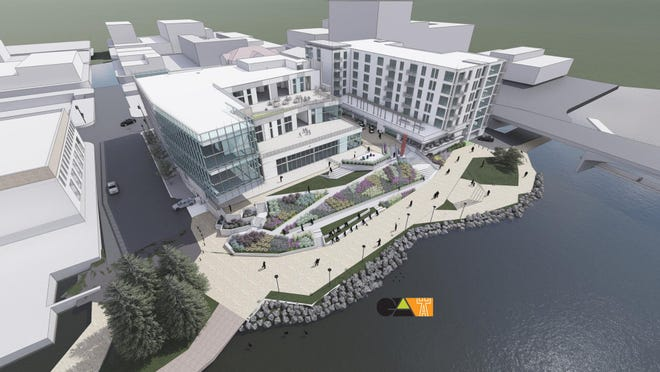 The Rockford Public Library plans to build a new $33 million main library branch in downtown Rockford along the Rock River. Construction was expected to start in 2020 but has been postponed until 2021. The library is the building to the left. The building to the right is a mixed-use development that will feature high-end apartments.