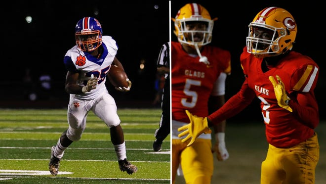 Cedar Shoals running back Jerdavian Colbert, left, and Clarke Central receiver Nono Mack, right, will battle in the Classic City Championship Friday night at the Jaguars' Waters-Wilkins Stadium.