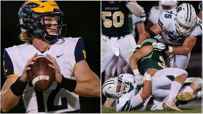 Prince Avenue's Brock Vandagriff, left, faces a stiff Athens Academy defense Friday night in the annual Backyard Brawl.