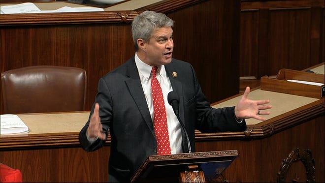 Rep. Bill Huizenga, R, Zeeland, speaks in the House in December 2019.