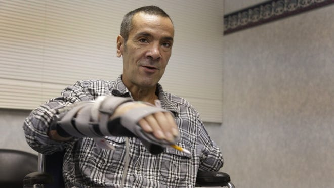Steve Constantine suffered a near-fatal dog mauling in October when he was trying to feed his friend's dogs in Detroit.
