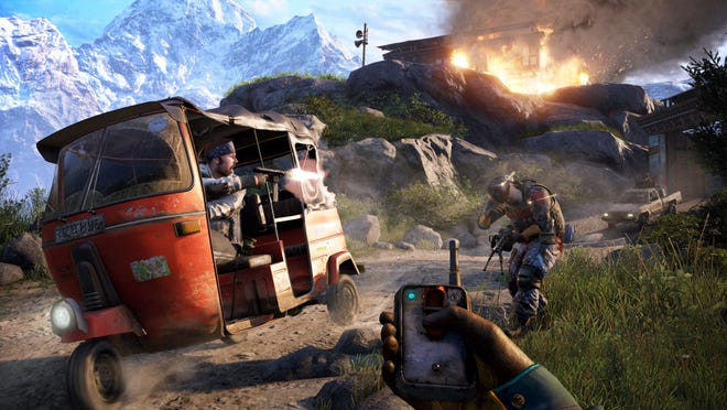 "Players need to use an array of weapons to survive in ""Far Cry 4."" Ajay's arsenal varies from explosives to guns to bows. He can even toss bait to lure predators as a distraction."