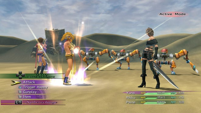 """Yuna, Rikku and Paine can change between job classes in """"Final Fantasy X-2."""""""