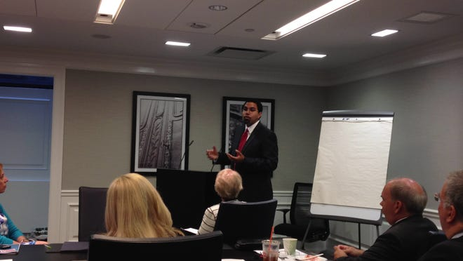 State Education Commissioner John King addresses members of the Westchester Business Council on June 11, 2014 at BNY Mellon in White Plains.