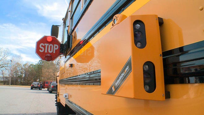Detail view of new cameras on Cobb County, GA, school buses. (Via OlyDrop)
