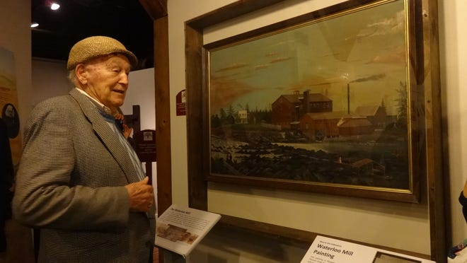 Wallace Kay Huntington, a great-grandson of Thomas Lister Kay, stands with painting he donated to Willamette Heritage Center last week. The painting is currently on exhibit at the center.