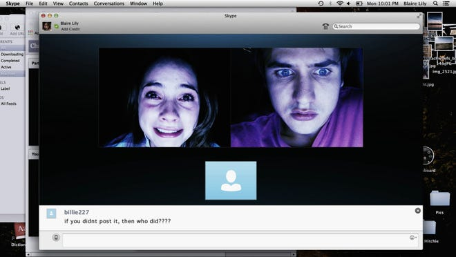 """Shelley Henning and Moses Storm appear in a scene from """"Unfriended."""""""