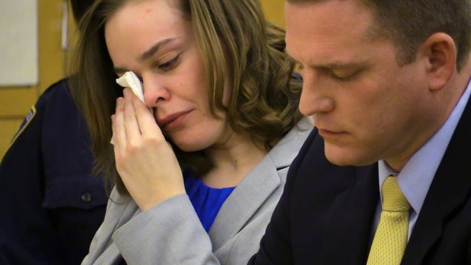 Lacey Spears is shown Tuesday during opening statements in her trial at Westchester County Courthouse in White Plains. She is accused of killing her 5-year-old son. On the right is one of her attorneys, David R. Sachs.