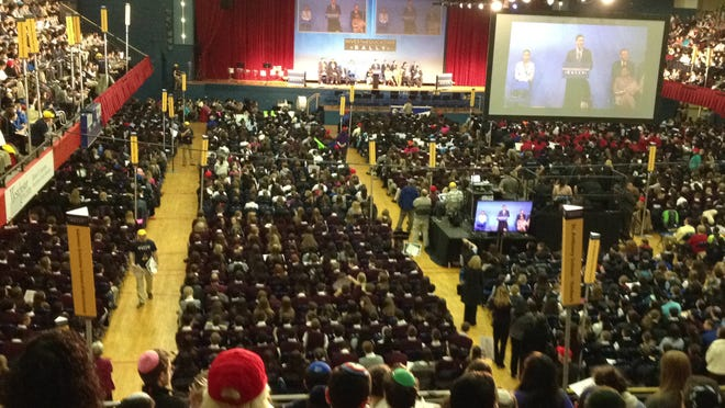 A rally in 2013 in support of a proposed eduation tax credit drew aound 5,000 religious and private school students, teachers and administrators to the Westchester County Center. The education tax credit proposal is back.