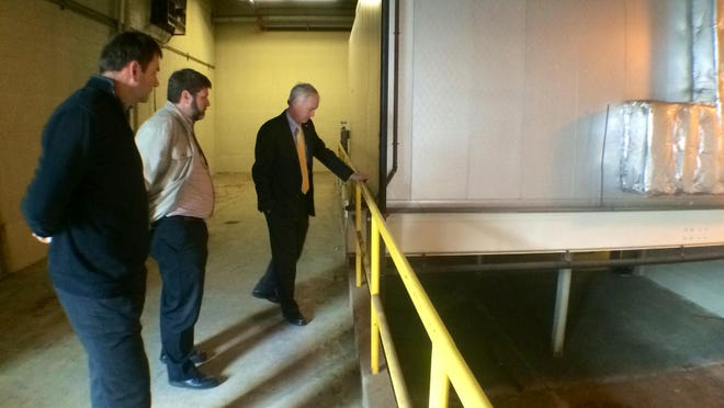 U.S. Sen. Ron Johnson stops by the former Domtar mill site in Port Edwards on Tuesday.