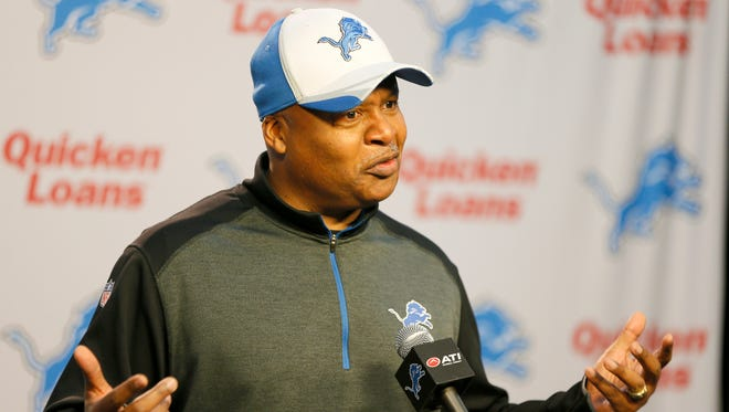 Detroit Lions coach Jim Caldwell makes a point while answering questions from the media in Allen Park on Monday, Jan. 5, 2015.